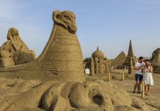 Sand sculptures embody the wonders of the world and its legends in the Turkish city of Antalya