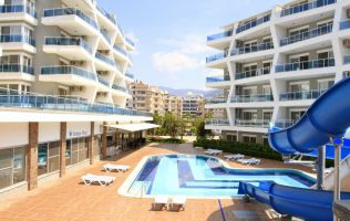 Comfortable furnished apartment 1 + 1 in a modern gated complex in oba, Alanya