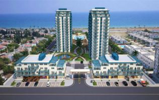 Apartments in a luxury complex under construction on the first line of the sea, Famagusta, North Cyprus.