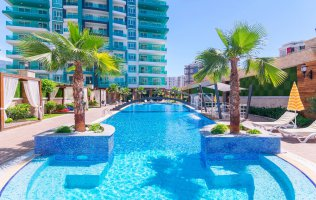 In the luxury complex 1+1 apartment for sale in Mahmutlar, Alanya