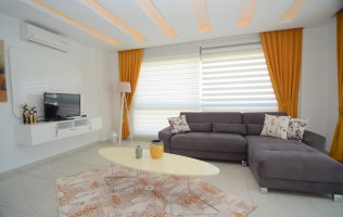 Furnished 1+1 apartment overlooking the sea and mountains in Alanya, Kestel