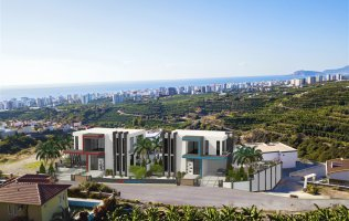 New exclusive project of villas with panoramic views of the Mediterranean Sea in Alanya, Kargicak