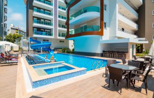 Apartment 1+1 in a new complex in the center of Alanya, just 250 meters from The Cleopatra Beach.