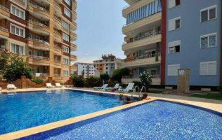 Furnished apartment with sea views in Tosmur, Alanya