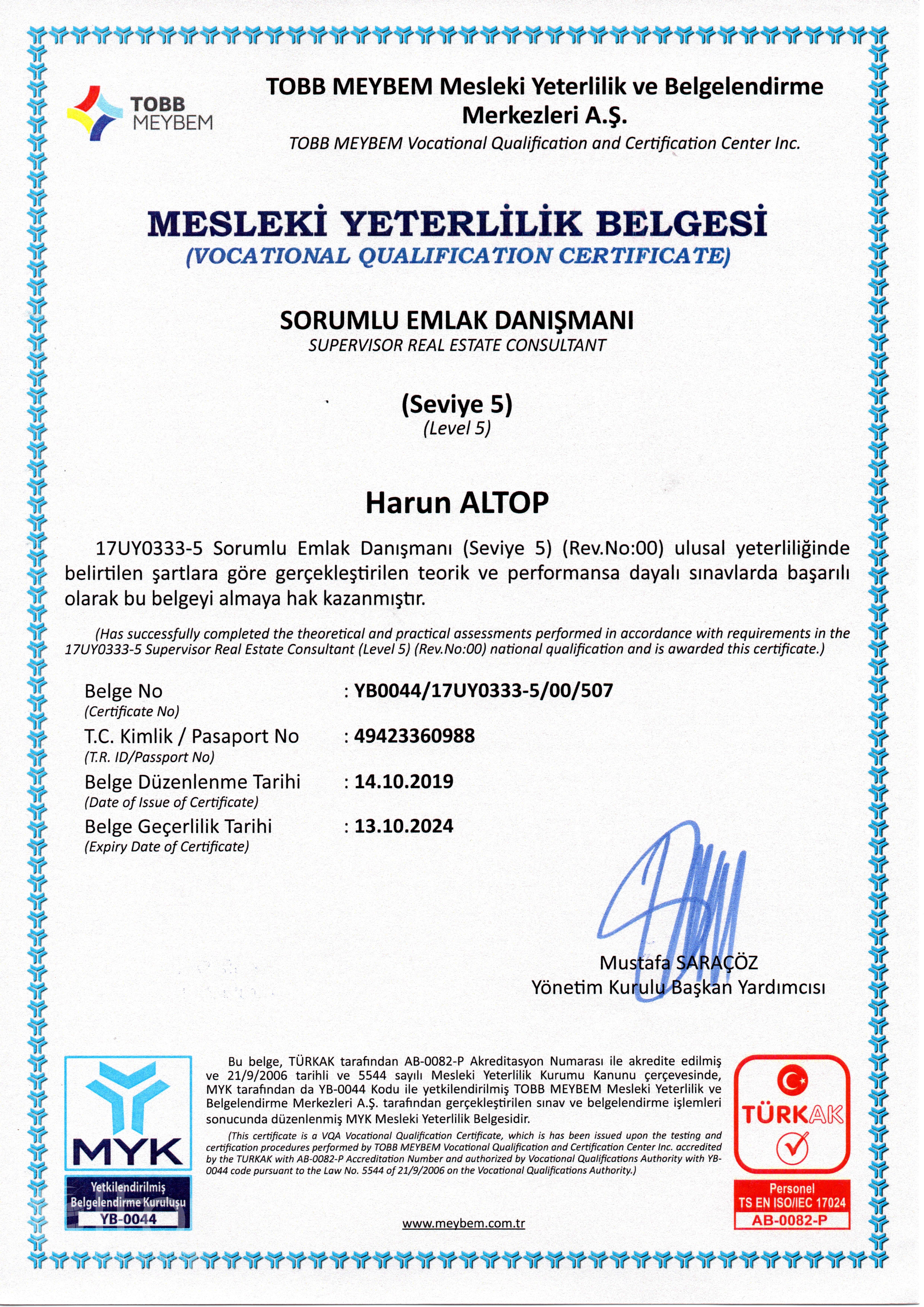 лицензия на риелторскую деятельность компании ALTOP Real Estate